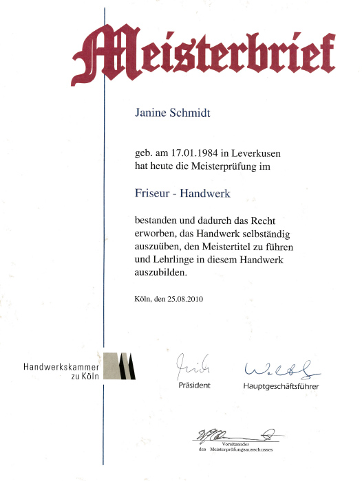 Meisterbrief Friseur Leverkusen Janine Schmidt HAIR DESIGN