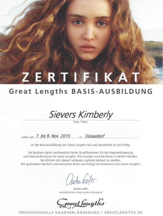 Basis Zertifikat Great Lengths Haarverlängerungen Kimberly Sievers