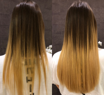 Haarverdichtung mit Balayage Coloration