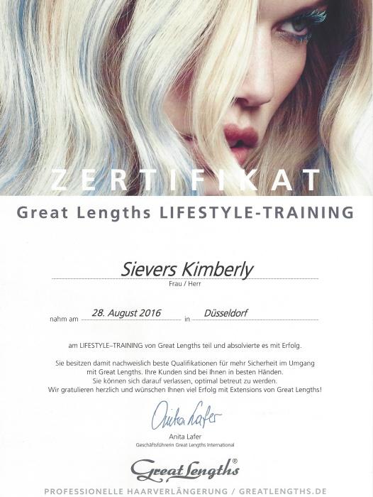 Lifestyle Training Seminar Zertifikat Great Lengths Kimberly Sievers