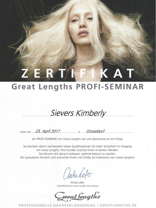 Profi Seminar Zertifikat Great Lengths Kimberly Sievers