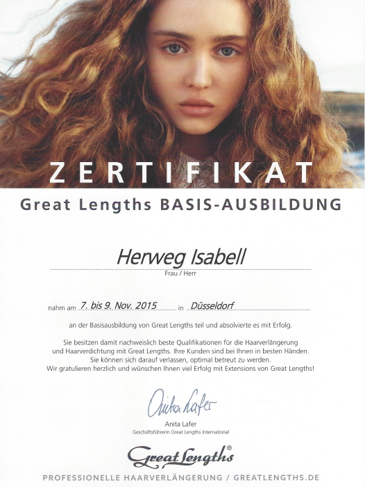 Zertifikat Great Lengths Haarverlängerungen