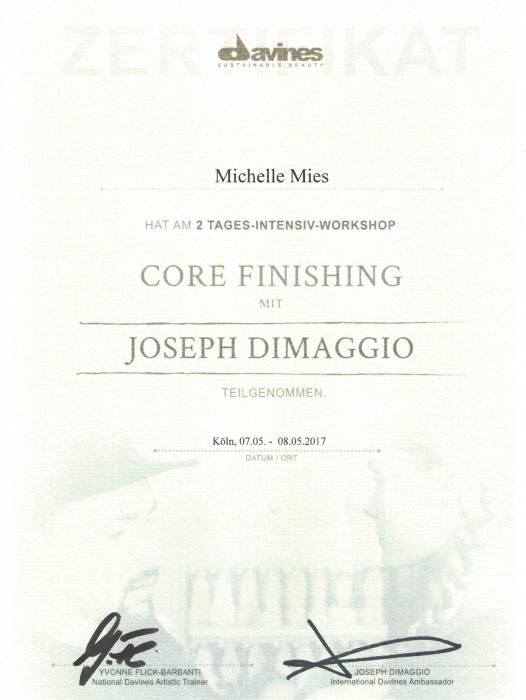davines Zertifikat Fortbildung mit Joseph Dimaggio